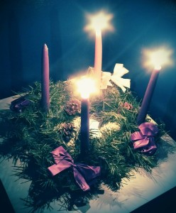 Our Advent wreath last year with three candles lit.